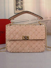 Valentino original suede rockstud medium chain bag 0122 apricot
