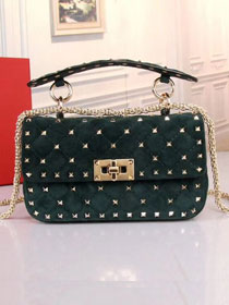 Valentino original suede rockstud small chain bag 0123 blackish green