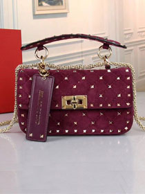 Valentino original suede rockstud small chain bag 0123 purple