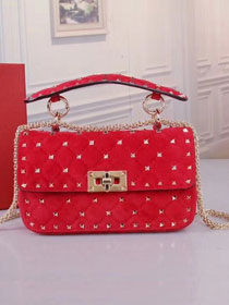 Valentino original suede rockstud small chain bag 0123 red