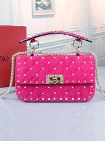 Valentino original suede rockstud small chain bag 0123 rose red