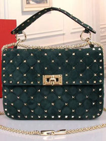 Valentino original suede rockstud large chain bag 0121 blackish green