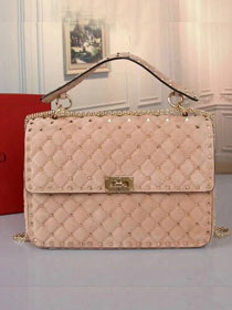 Valentino original suede rockstud medium chain bag 0121 apricot