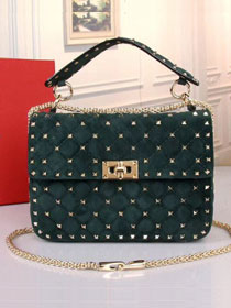 Valentino original suede rockstud medium chain bag 0122 blackish green
