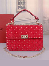 Valentino original suede rockstud medium chain bag 0122 red