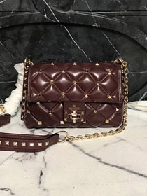 2019 Valentino original lambskin candystud small chain bag 0172 burgundy