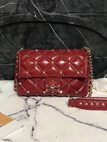 2019 Valentino original lambskin candystud small chain bag 0172 red