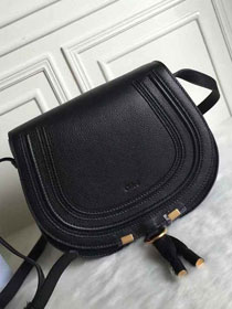Chloe original calfskin large marcie crossbody saddle bag 2019 black