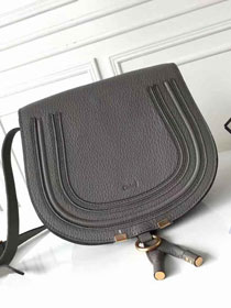 Chloe original calfskin large marcie crossbody saddle bag 2019 grey