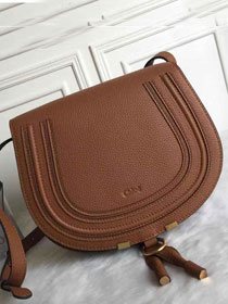 Chloe original calfskin large marcie crossbody saddle bag 2019 brown
