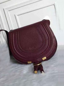 Chloe original calfskin marcie crossbody saddle bag 2000 bordeaux