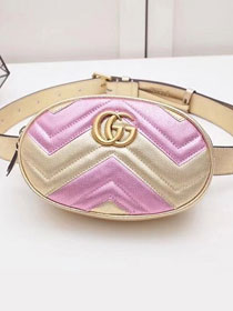 2019 GG original calfskin marmont matelasse belt bag 476434 gold