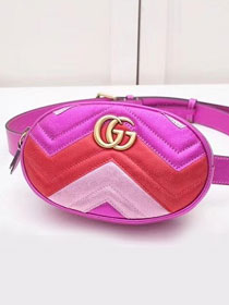 2019 GG original calfskin marmont matelasse belt bag 476434 rose red