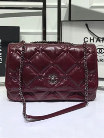 2019 CC original aged calfskin flap bag A57688 burgundy
