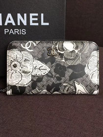 CC original printed lambskin wallet zipped A70785 black
