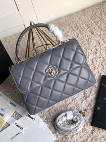 CC original lambskin top handle flap bag A92236 grey
