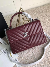 CC original lambskin top handle flap bag A92236-2 bordeaux