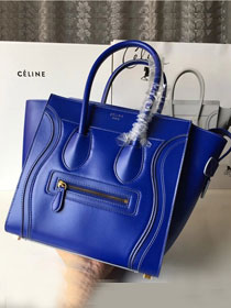 Celine original smooth calfskin micro luggage handbag 189793 blue