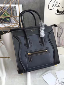 Celine original calfskin micro luggage handbag 189793 navy blue&black&grey