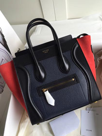 Celine original calfskin micro luggage handbag 189793 navy blue&black&red