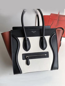 Celine original calfskin micro luggage handbag 189793 white&black&brown