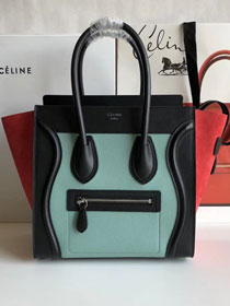 Celine original calfskin micro luggage handbag 189793 blue&black&red