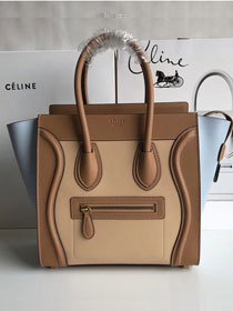 Celine original calfskin micro luggage handbag 189793 coffee&apricot&blue
