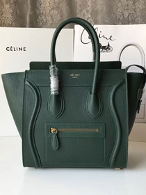 Celine original grained calfskin micro luggage handbag 189793 blackish green