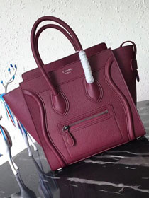Celine original grained calfskin micro luggage handbag 189793 bordeaux