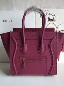 Celine original grained calfskin micro luggage handbag 189793 burgundy