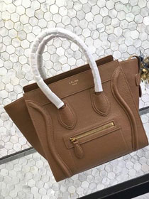 Celine original grained calfskin micro luggage handbag 189793 camel