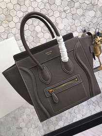 Celine original grained calfskin micro luggage handbag 189793 dark grey