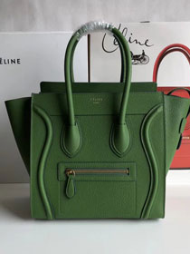 Celine original grained calfskin micro luggage handbag 189793 green