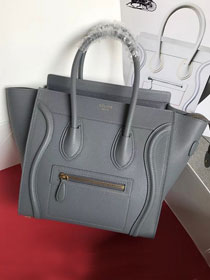 Celine original grained calfskin micro luggage handbag 189793 grey
