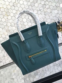 Celine original grained calfskin micro luggage handbag 189793 lake blue