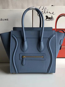 Celine original grained calfskin micro luggage handbag 189793 light blue