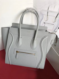 Celine original grained calfskin micro luggage handbag 189793 light grey