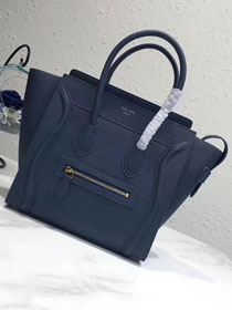 Celine original grained calfskin micro luggage handbag 189793 navy blue