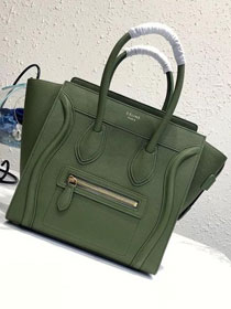 Celine original grained calfskin micro luggage handbag 189793 olive