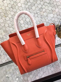 Celine original grained calfskin micro luggage handbag 189793 orange