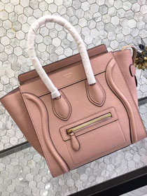 Celine original grained calfskin micro luggage handbag 189793 pink