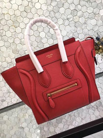 Celine original grained calfskin micro luggage handbag 189793 red