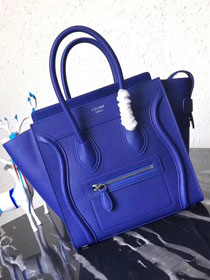 Celine original grained calfskin micro luggage handbag 189793 royal blue