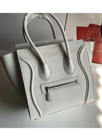 Celine original grained calfskin micro luggage handbag 189793 white
