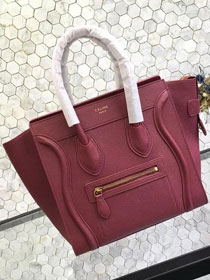 Celine original grained calfskin micro luggage handbag 189793 wine red