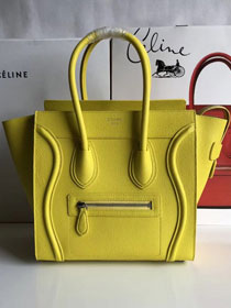 Celine original grained calfskin micro luggage handbag 189793 yellow