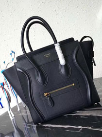Celine original smooth&grained calfskin micro luggage handbag 189793 black