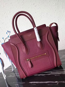 Celine original smooth&grained calfskin micro luggage handbag 189793 bordeaux