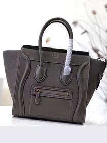 Celine original smooth&grained calfskin micro luggage handbag 189793 dark grey