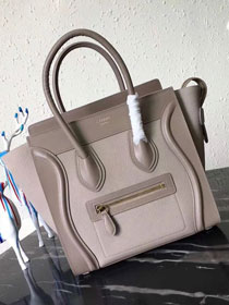 Celine original smooth&grained calfskin micro luggage handbag 189793 light grey